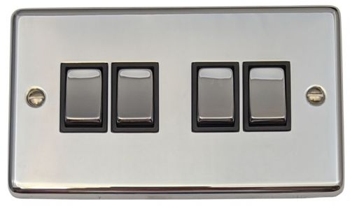 G&H CC304 Standard Plate Polished Chrome 4 Gang 1 or 2 Way Rocker Light Switch